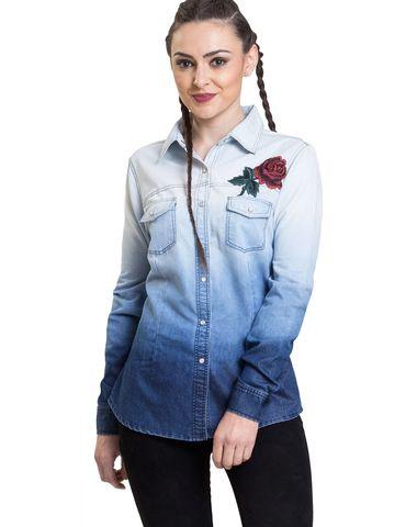 30c64defddce7f IRALZO Ombrey washed denim shirt for women