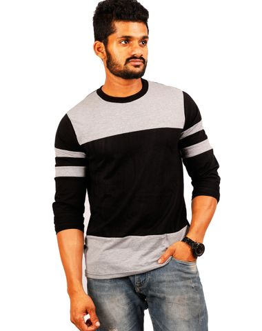 d2b624c52 High Five Clothing - Grey-Black-Grey Round Neck Full Sleeves T-Shirt -  Double Pannel ST