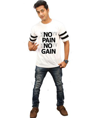 76c940e08 High Five Clothing -White Round Neck Half Sleeves T-Shirt - No Pain No Gain