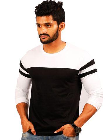 cb6e4ac0d High Five Clothing - White-Black Round Neck Full Sleeves T-Shirt - PANEL  30-70