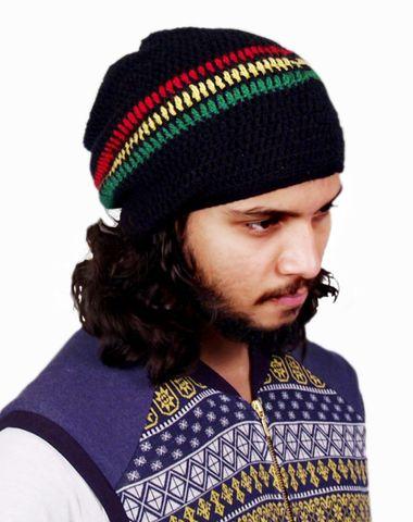 09df42ebf65 Stripes handknitted black rasta cap