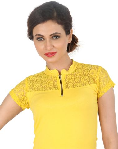 622cac58a0f Areum Yellow Collared Zipper Lace Strechable Cotton Lycra Saree Blouse Crop  Top