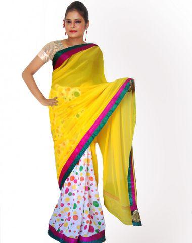 bf3c16cec5 Viukart Yellow Half  amp  Half Party Wear Embroidery Saree