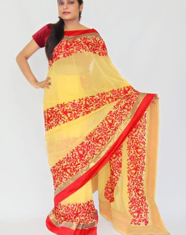 bb79047e3b Viukart Yellow  amp  Red Designer Party Wear Embroidery Saree