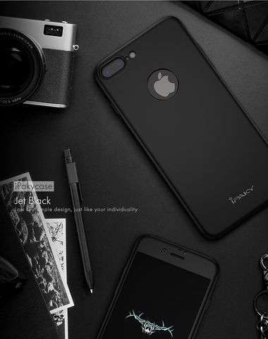 Black Black iPaky 360 APPLE iPHONE 7 Full Protection PC Front Back Cover Case (WITH FREE TEMPERED GLASS)