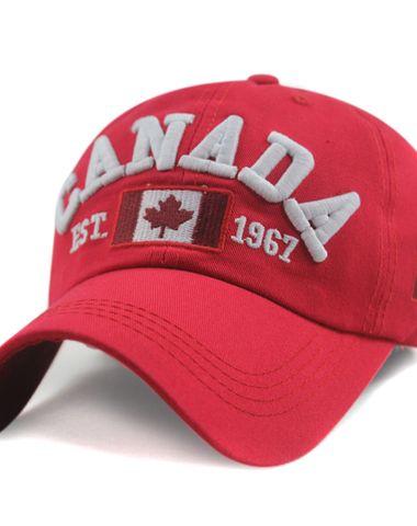 edbd5139c5c Novasox Unisex Canada Embroidered Adjustable Baseball Cap Red