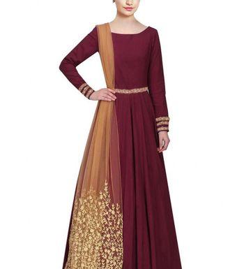 10c0522f2b35 Greenvilla Designs Taffeta silk Maroon Beautiful Party Wear Dress