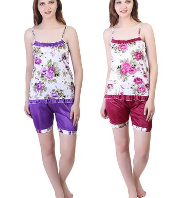 Ansh Fashion Wear Women s Night Suit -Sleevleess Top  amp  Shorts - Pack of  2 - Regular Fit - Satin - Flower Print -Multi colour ce7d517cf