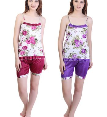 Ansh Fashion Wear Women s Night Suit -Sleevleess Top  amp  Shorts - Regular  Fit - Satin - Maroon  amp  Purpel - Pack of 2 bf205349c