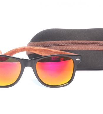 fc46c9eb08 VisionX Classic Acetate Frame with Walnut wood Engraved  Temples-sticks(Mirrored Lenses) Wayfarer Sunglasses