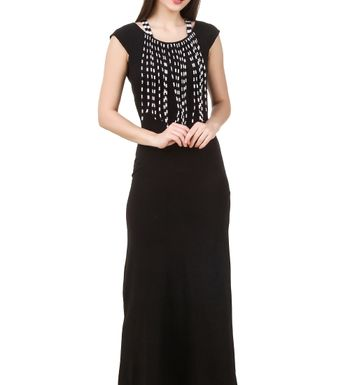 ac8aa6e0024 Texco women s black fringed detailed summer maxi dress. Rs. 1199 Rs. 2199. Texco  women s multicolor cutout shoulder boho dress