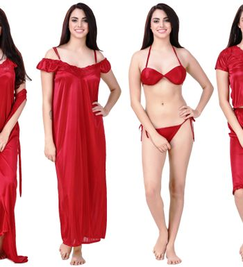cc0daaead7 Freely Women S Satin Nighty Set1 - Pack Of 6