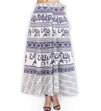 24df80c8f34 Fabcolors handmade cotton free Size Casual Wear Elephant Mandala Print Wrap  Around Black and White Jaipuri Skirt