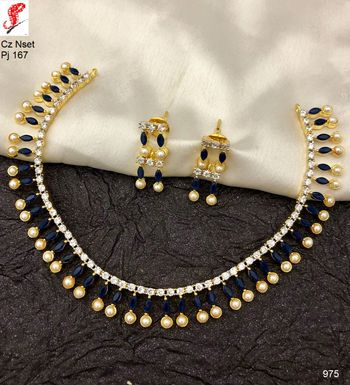 740796859c4 Fashion O Mania Antique Choker Necklace Set For Women And Girls With Drop White  Pearls And American Diamond And Gold Plated Material