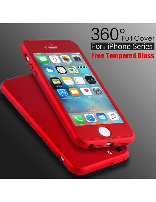 iPaky 360 APPLE iPHONE 5 5S Full Protection PC Front Back Cover Case WITH FREE TEMPERED GLASS-RED