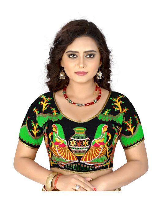 6fc0d95d5c5a45 Kuvarba Fashion Black Banglori Silk Readymade embroidery designer saree  blouse