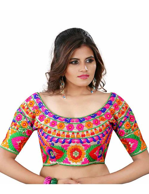 f29eebd731ccb Kuvarba Fashion Multi Color Fabric Silk Embroidered Readymade Designer  Blouse