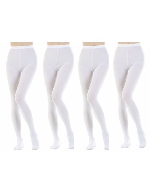 62b3ab3eb Neska Moda Women s 4 Pair White Panty Hose Long Comfort Stockings