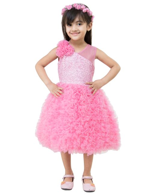 49b59eb94056 Samsara couture Girls Pink Solid Party Frock