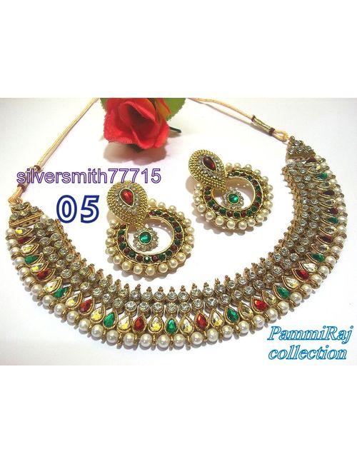 5ca673c6bbf4c7 Pammiraj Collection Designer Indian Choker Necklace Set Multicolor Lehnga  Jewellery Drop Dangle Earrings RED GREEN Necklace Set