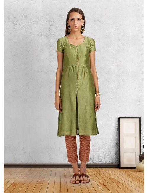 c3bfb246b2c0 Green Cotton Silk Slit Jacket Kurta