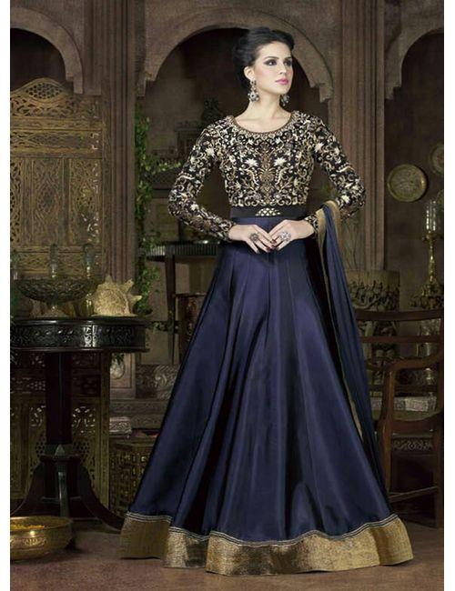 dfe4a5fc494 Latest Designer Blue color Heavy Tapeta Silk embroidered anarkali salwar  suit- 4802(C)