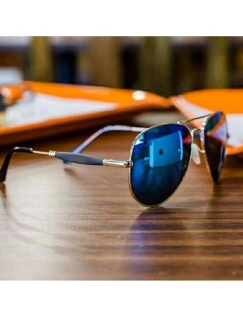 9f3e808991d88 Stylish New Aviator Blue Mirror Gold Frame 3517 Sunglasses For men