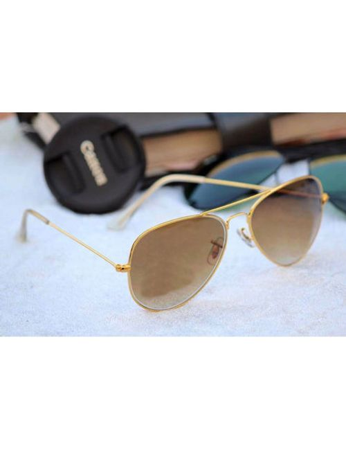acea9446981 Ray Stylish New Aviator Ban 3026 Brown Shade gold frame Sunglasses for Men