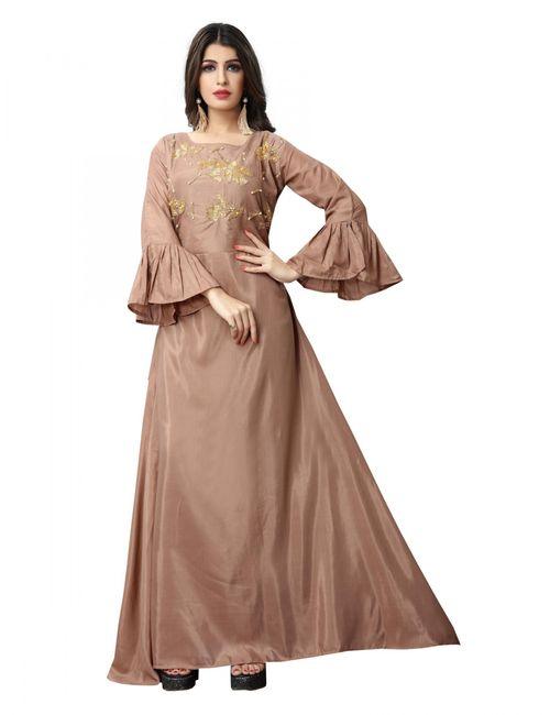 6832c0146 Viha Women's Designer Peach Embroidered Musline Satin Gown