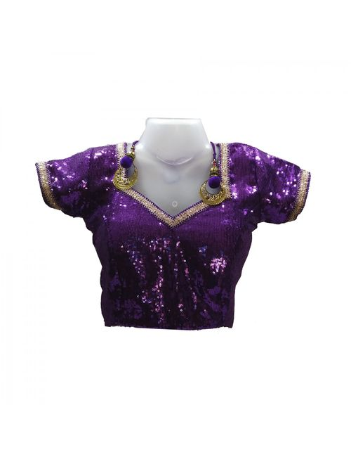 ba37ae02c4618 LIBRA FASHION WOMEN S DESIGNER BLOUSES VIOLET SEQUIN WITH PADDED