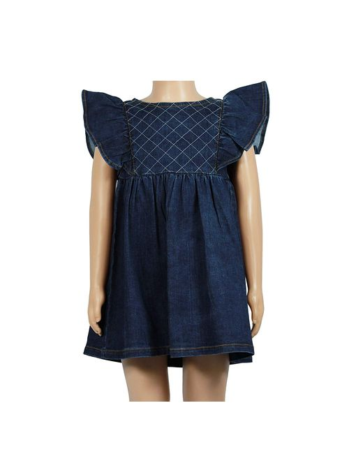 cf202bae15 Olele Girls Denim Ruffle Dress