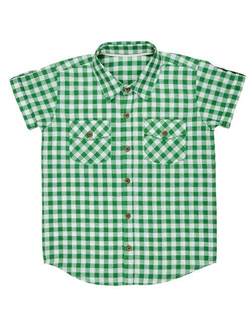 30597cea85f Olele Half Sleeve Boys Shirt Green Check