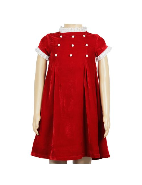 33129c6bc5f8 Olele Valentine Pearl Girls Partywear Red Dress