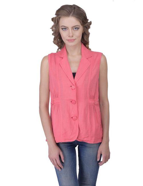 3a53471d6952b Women Pink Sleeveless Blazer