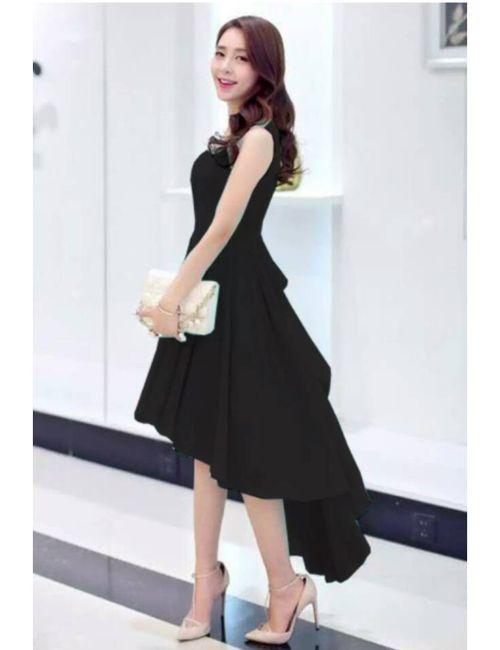 f6c870d6feb4 Oooh Lady Fashion Black Georgette Up   Down Designer Dress