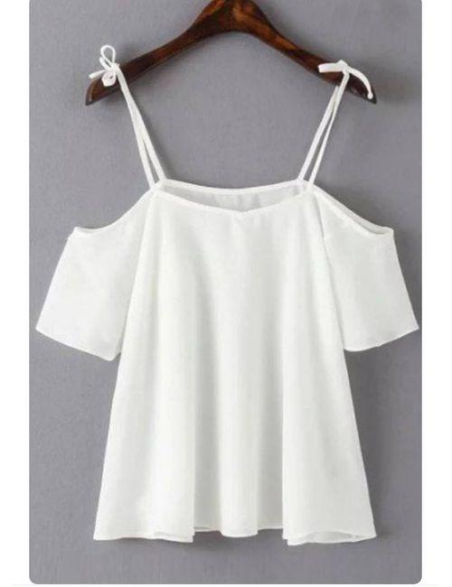 b403a311a4c0c Off shoulder sleeve white Spaghetti Strap top