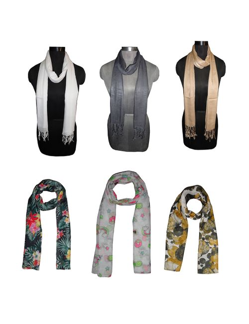 4aee956da21b Dream Fashion Combo Pack of 6 Printed and Plain Multicolor Poly ...