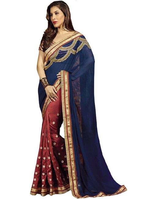 4b7c5bf37e746 SAREES Blue Color Georgette   Dupion Fabric Embroidery Beautiful Saree With  latest Designer blouse for women party