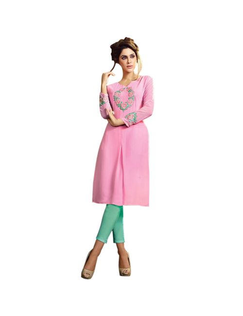 c39941dd35e BE CUTIE Pink Georgette Kurta With Floral Embroidery Design Having  Sweetheart Neck