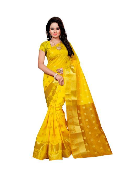 b8c4faa4022a5 Greenvilla Designs Yellow Cotton Silk Saree With Blouse