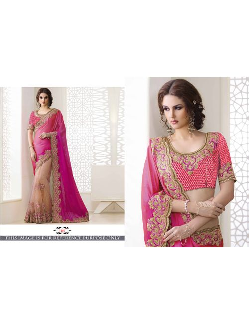 3dbbd428e3cd78 Greenvilla Designs Pink And Cream Silk Heavy Embroidery Wedding Wear Half    Half Saree With Blouse