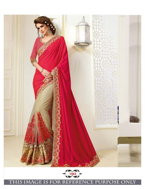 051f80234681c6 Greenvilla Designs Red And Cream Sattin Silk Heavy Embroidery Wedding Wear  Half   Half Saree With Blouse