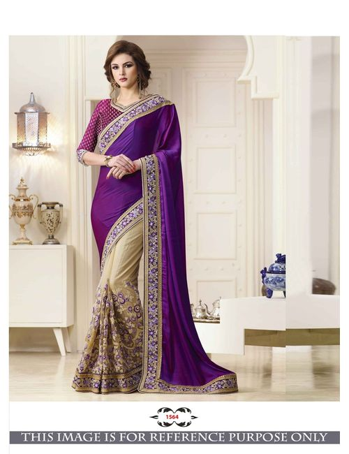 eb006f8d809bca Greenvilla Designs Purple And Cream Sattin Silk Heavy Embroidery Wedding  Wear Half   Half Saree With Blouse