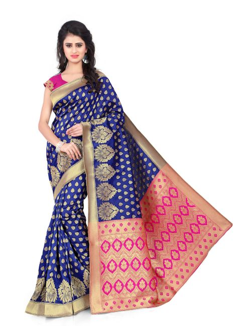 a4222eeea1f62 Greenvilla Designs Blue and Pink Printed Poly Cotton Saree With ...