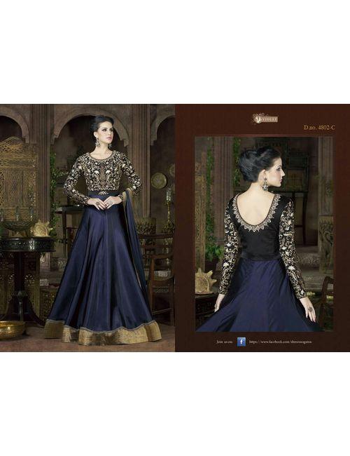 22ce73204d5 Latest Designer Blue color Heavy Tapeta Silk embroidered anarkali salwar  suit- 4802(c)