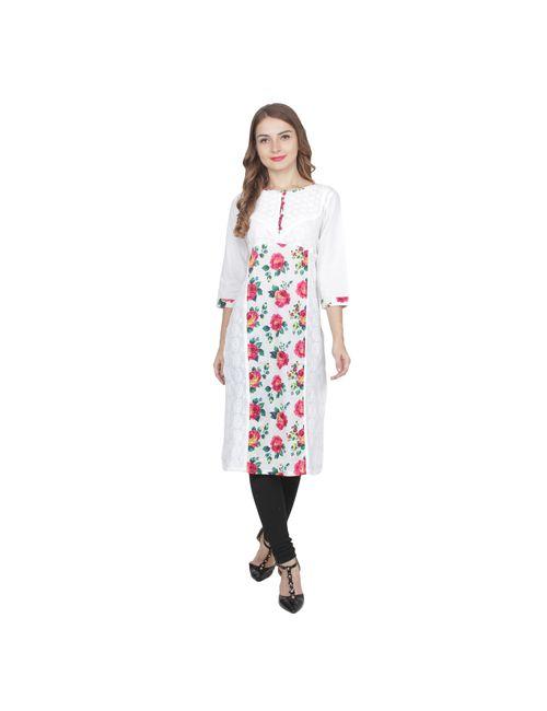 cb1a4849665 Aptt Fashion White Cotton Kurti For Women Aptt 038