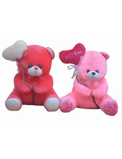 0d5c2608e8d8 Haripriya Creation Valentine Special Gift Pink Ballon Heart Teddy Combo  with Dark Pink Ballon Hear Teddy- 36cm