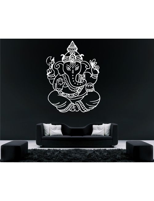 heaven decors shree ganesh white wall decal and sticker vinyl