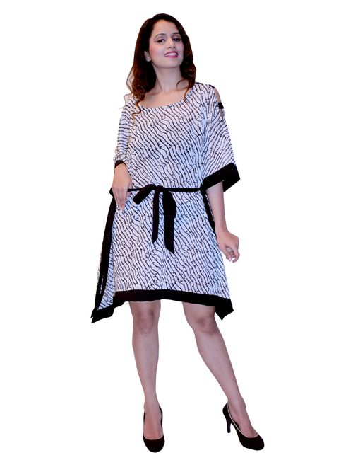 700d375a167 Black N White Sequin Worked Beach Partywear Cover up Kaftan Caftan Tunic