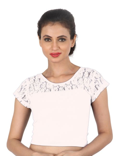 d0e36fc15c0021 Areum White Net Stretchable Cotton Lycra saree Blouse Crop Top